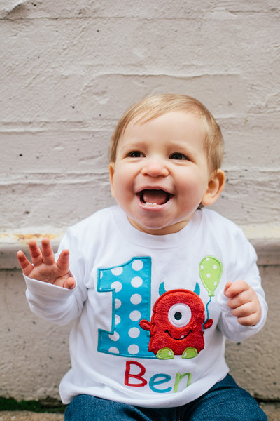 Ben in his 1st birthday monster tee from Etsy | Portrait & Wedding Photography in Dallas & Beyond by Mary Cyrus Photography