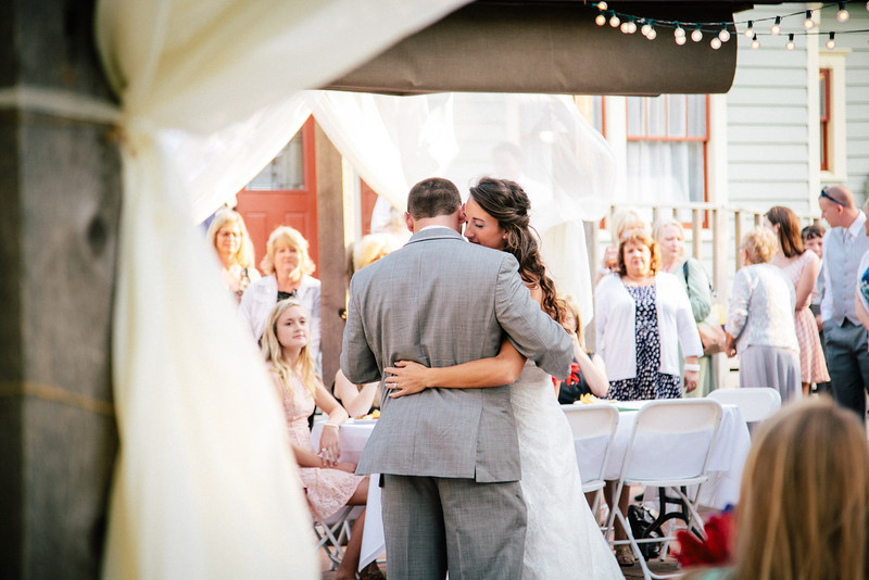 Amy & Landon's first dance under twinkle lights at Chestnut Square | Wedding Photography in Dallas, Texas & Beyond by Mary Cyrus