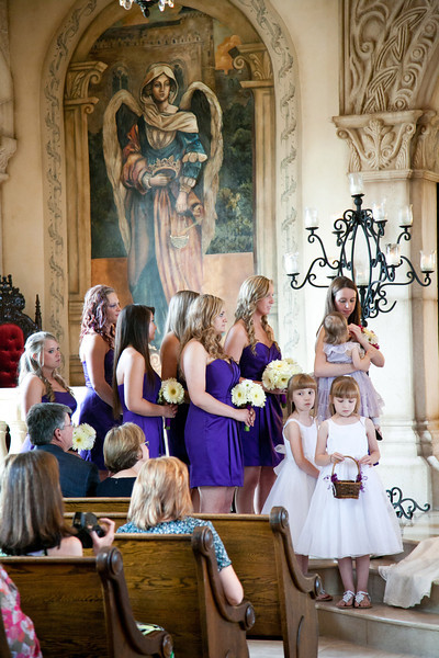Bridesmaids in purple dresses with white daisy bouquets at Bella Donna Chapel | Wedding Photography in Dallas, Texas & Beyond by Mary Cyrus