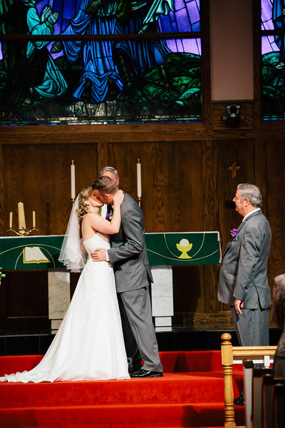 The First Kiss at Christina & Andrew's Wedding at Our Savior Lutheran Church in McKinney, Texas | Wedding & Portrait Photography by Mary Cyrus in Dallas & Beyond