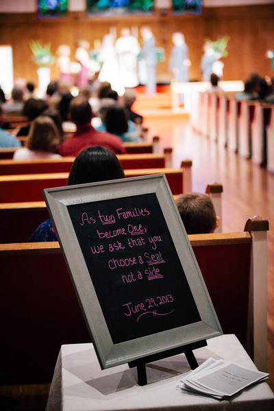 """""""As two families become one, we ask that you choose a seat, not a side"""" on sign at Christina & Andrew's wedding in McKinney, Texas. 
