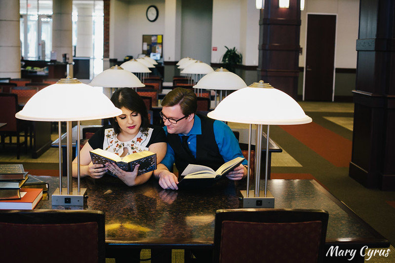 Collin College Library Engagement Portraits in McKinney, Texas by Mary Cyrus Photography