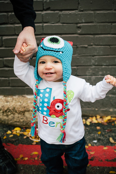 Ben in his adorable crochet monster hat & 1st birthday monster tee from Etsy | Portrait & Wedding Photography in Dallas & Beyond by Mary Cyrus Photography