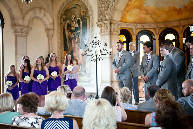 The groom sees his bride for the first time down the aisle at Bella Donna Chapel in McKinney, Texas | Wedding Photography in Dallas, Texas & Beyond by Mary Cyrus