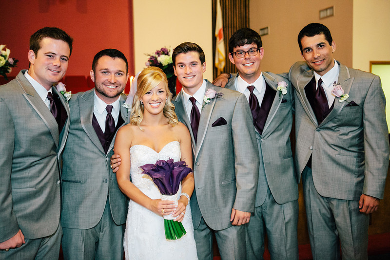 Groomsmen sporting gray suits and purple vests at Jen & Michael's Lindale & Hideaway, Texas Wedding | ©Mary Cyrus Photography - Portraits & Weddings in Dallas & Beyond