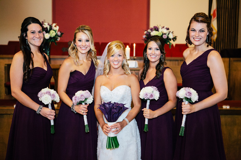 Rose bouquets & deep purple gowns for the bridesmaids at Jen & Michael's Lindale & Hideaway, Texas Wedding | ©Mary Cyrus Photography - Portraits & Weddings in Dallas & Beyond