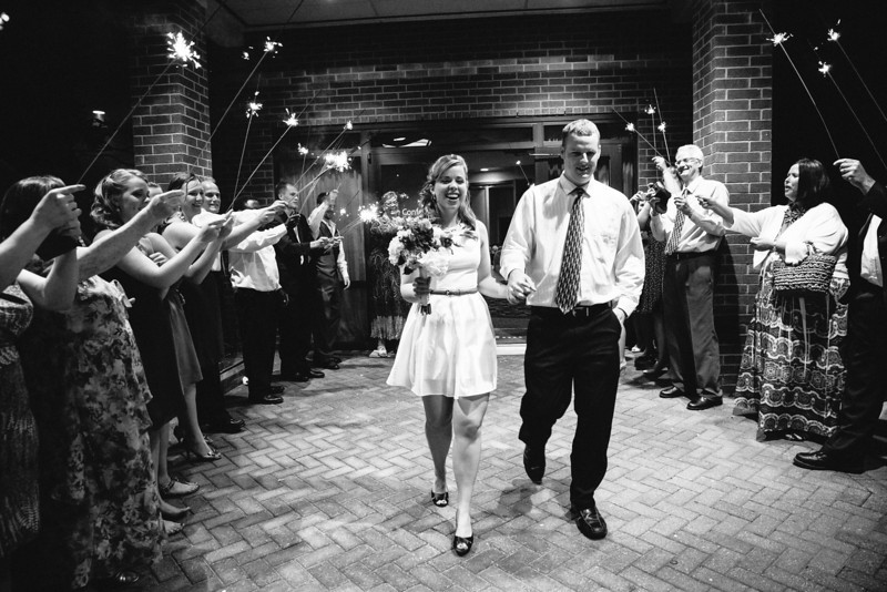 The Sparkler Exit at Christina & Andrew's Wedding Reception at the Hilton Garden Inn in Allen, Texas | Wedding & Portrait Photography by Mary Cyrus in Dallas & Beyond