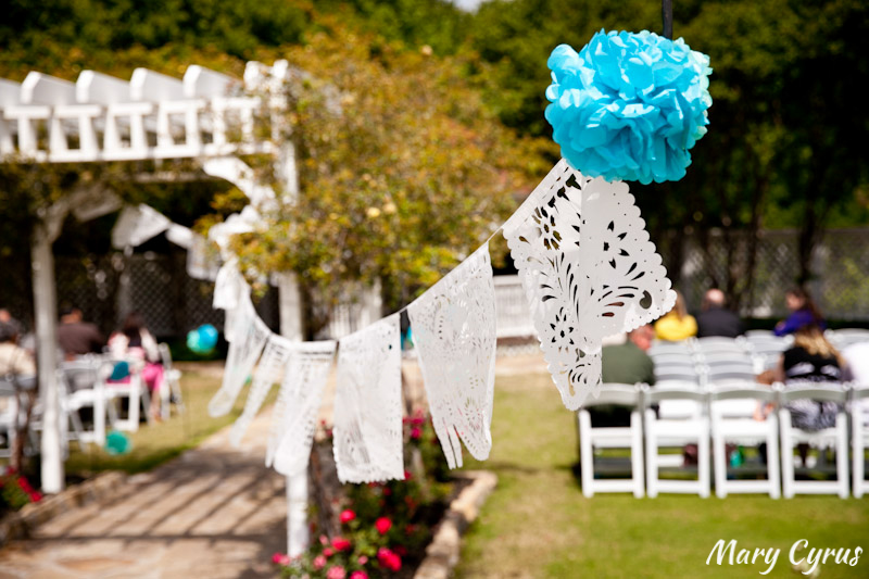 White Papel Picado Decorating the Aisle at this Cinco de Mayo Wedding | Mary Cyrus Photography - Weddings & Portraits in Dallas, Texas & Beyond